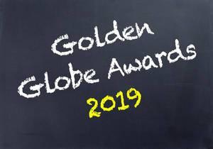 GOLDEN GLOBE AWARDS 2019 geschrieben auf schwarzer Tafel