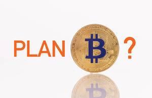 "Goldene Bitcoinmünze mit dem Text ""Plan B"""