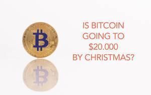 """Goldene Bitcoinmünze mit dem Text  """"Wird der Bitcoin bis Weihnachten bei 20.000 $ sein?"""""""