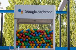 Google Assistant glass box with colorful balls