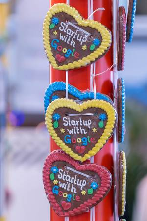 Google-Gingerbread hearts hanging on red pole