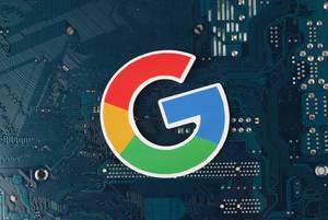 Google logo over electronic circuit board background
