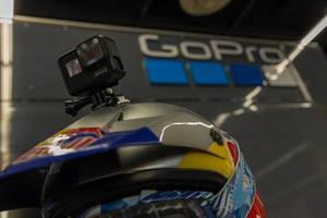 GoPro Hero 7 Action camera fixed on a Red Bul helmet