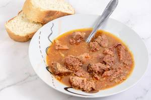 Goulash meal with Beef meat and Bread