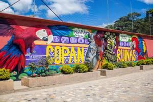 Graffitikunst bei den Copan Ruinen  - Copan Ruinas
