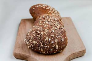 Grain bread with flax seeds and sesame, close up