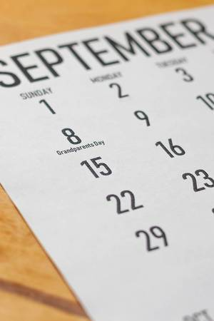 Grandparents Day. Monthly calendar with 8th September 2019 in the focus