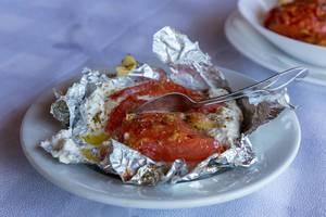 Greek style stuffed tomato