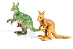 Green and brown kangaroo plastic figurines