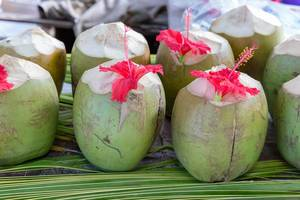 Green coconuts on palm leaves decorated with red amaryllis flowers at a Beach Bar of Anse Source d