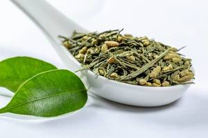 Green leaf tea with granules on a white ceramic spoon with fresh leaves