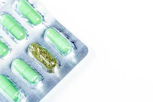 Green medical capsules in a blister, in one cell dried medicinal herb (Flip 2019)