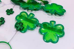 Green Shamrock-themed gadgets on display at the Bank of America Shamrock Shuffle stall at the Chicago Marathon Expo