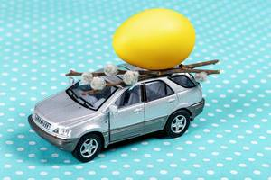 Grey toy car with a yellow egg and willow branches on a blue background (Flip 2020)