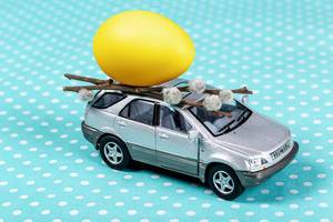Grey toy car with a yellow egg and willow branches on a blue background