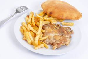 Grilled Chicken Drumstic with French Fries and bread