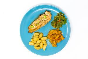 Grilled Salmon-steak in Hoisin-Miso sauce with pumpkin-sugarsnap stew and gnocchi viewed from top on white background