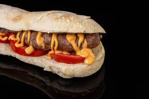 Grilled Sausage in bread with tomato and mustard sauce (Flip 2019)