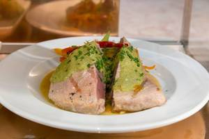 Grilled Tuna Steak with vegetables and green curry