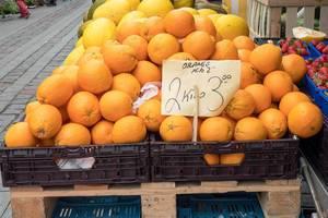 Große Orangen in Plastikkisten am Markt
