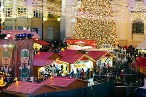 Großer, beschmückter Weihnachtsbaum auf dem Weihnachtsmarkt in Sibiu, Rumänien
