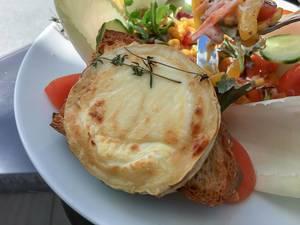 Großer, bunter Salatteller mit Gratin-Ziegenkäse, Honig und Thymian auf einer Pane Siciliano Brotscheibe im 1. FC Köln Restaurant Geißbockheim