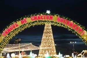 Großer Schild am Eingang vom Bucharest Weihnachtsmarkt mit großem beleuchtetem Weihnachtsbaum, Nachtsaufnahme