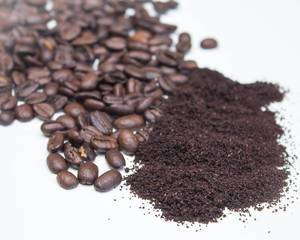 Ground Coffee and Bean on a White Background   Flip 2019