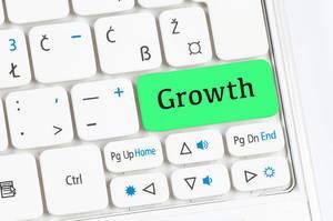 Growth green keyboard button