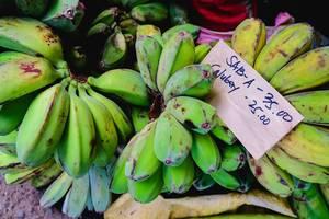 Grüne Bananen zum Verkauf auf einem lokalen Wochenmarkt