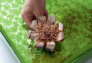 Grüne Geschenkpapier Verpackung mit goldener Schleife