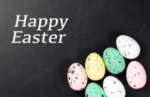 Grußkarte mit Text HAPPY EASTER (frohe Ostern) mit eingefärbten Ostereiern vor dunklem Hintergrund