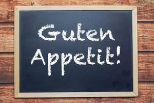 Guten Appetit! written on chalkboard