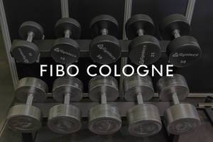 """Gymleco Dumbbells in different weight classes with the picture title """"Fibo Cologne"""""""