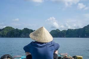 Ha Long Bay Limestone Scenery from a Local Boat