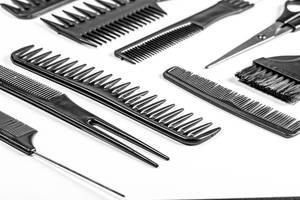 Hair combs and scissors. The concept of the barbershop