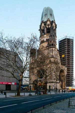Half ruined Kaiser Wilhelm Memorial Church in Berlin