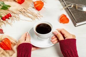 Hallo Herbst: Weibliche Hände halten eine Tasse heiße Kaffee neben einem geschlossenen Buch, bunten Blättern und Hagebutten