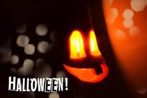 Halloween season with scary looking pumpkins, illuminated at night