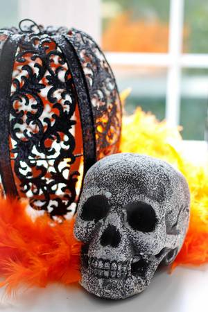 Halloween: Skelleton and Black Pumpkin