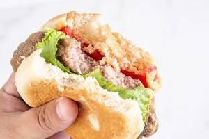 Hamburger with Tomato Lettuce and Sauce in the hand