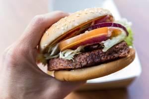 """Hand hält in der Nahaufnahme den veganen McDonalds Burger """"Big Vegan TS"""" mit Zwiebeln,  Tomatenscheiben, Lollo Bionda Salat mit Sojabratling"""