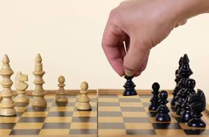 Hand move chess figure