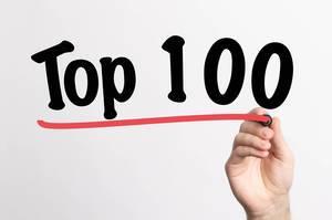 """Hand schreibt """"TOP 100 / die besten 100"""" auf ein Whiteboard"""
