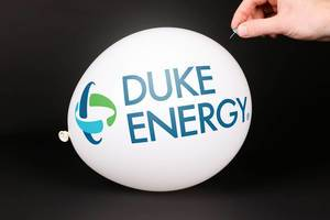 Hand uses a needle to burst a balloon with Duke Energy logo