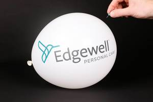 Hand uses a needle to burst a balloon with Edgewell logo