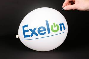 Hand uses a needle to burst a balloon with Exelon logo