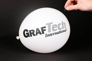 Hand uses a needle to burst a balloon with GrafTech logo