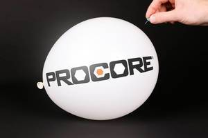Hand uses a needle to burst a balloon with Procore logo