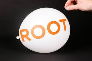 Hand uses a needle to burst a balloon with Root Insurance logo